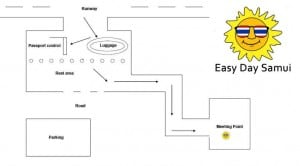 Koh Samui - Mappa del punto d'incontro nella Sala Arrivi
